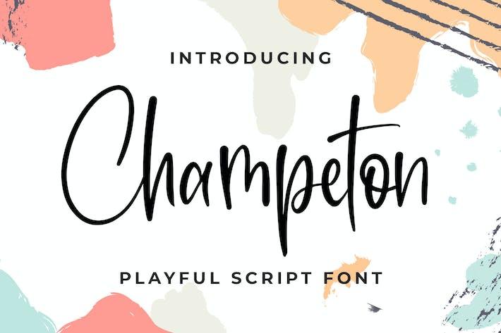 Thumbnail for Champeton - Font de script ludique