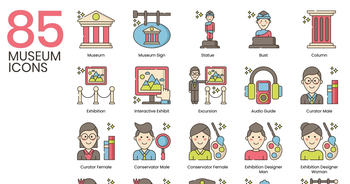 Download 85 Museum Line Icons by Krafted
