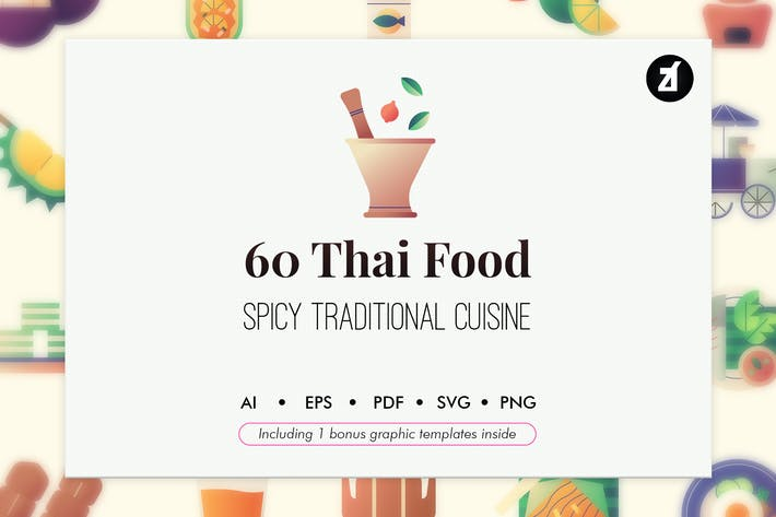 Thumbnail for 60 Thai food elements with bonus graphic template