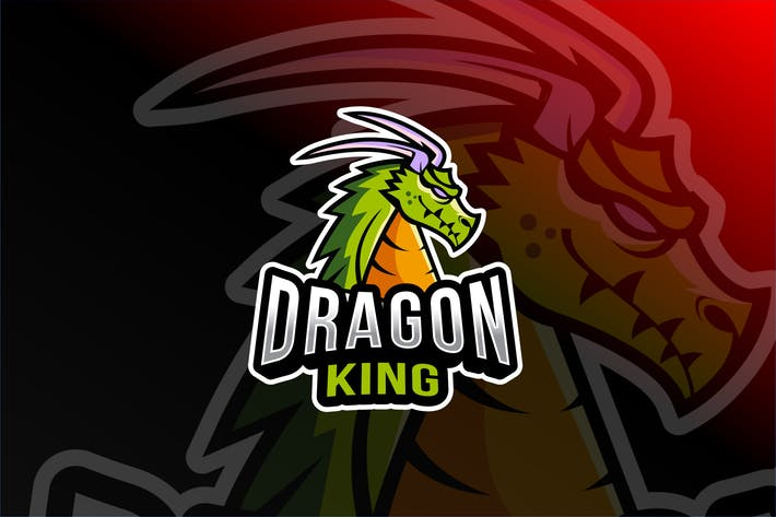 Cover Image For Dragon King Esport Logo Template