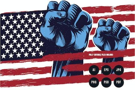 Amerikanische Flagge Freiheit Propaganda Illustration