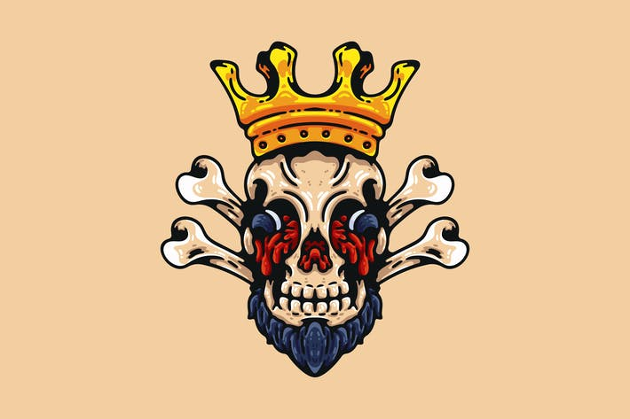 Bearded Skull With Crown
