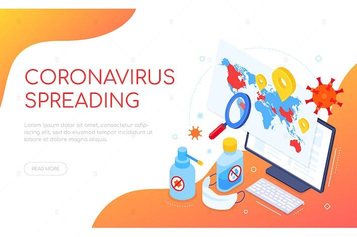 Thumbnail for Coronavirus spreading isometric web banner