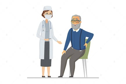 Senior man consulting with a doctor - illustration