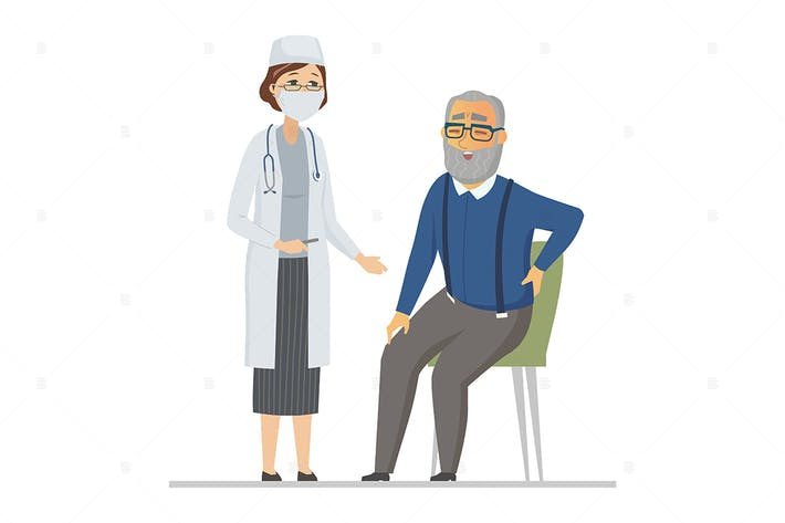 Thumbnail for Senior man consulting with a doctor - illustration