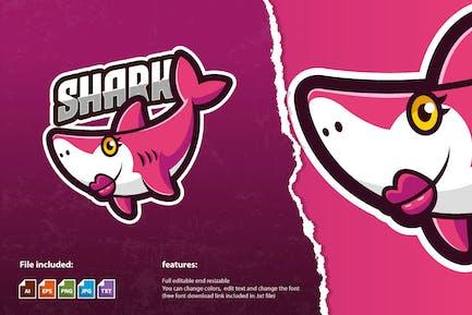 Mommy Shark Mascot Game Logo Template