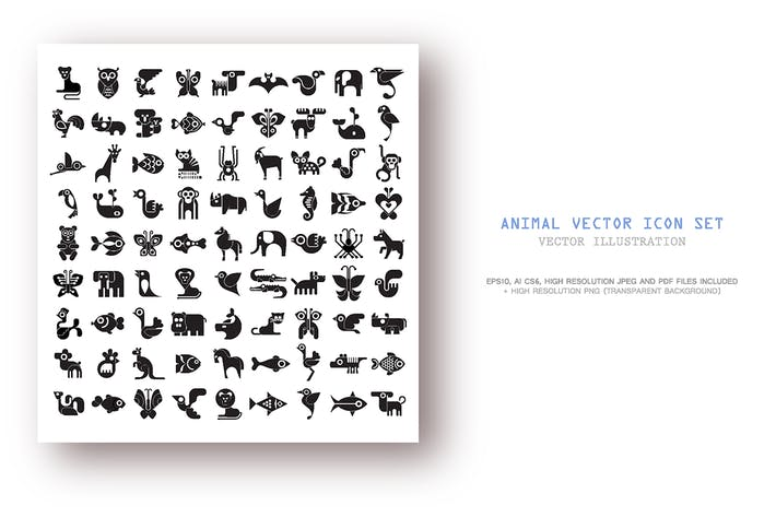Cover Image For Set of Animal vector icons isolated on a white