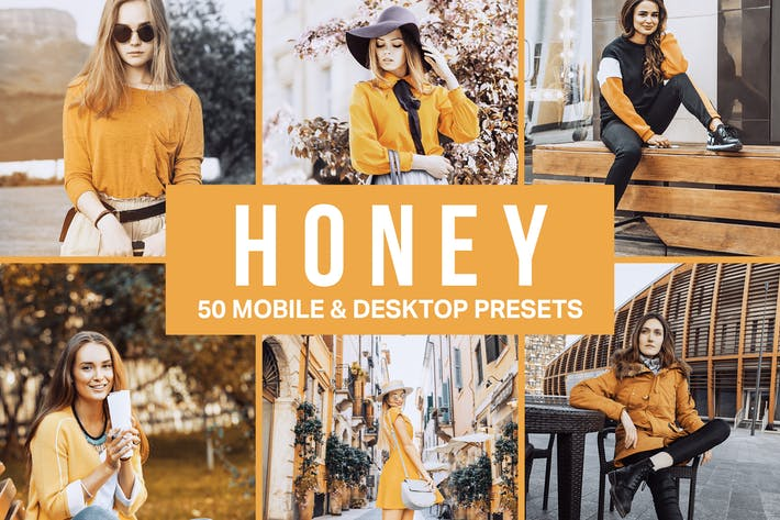 Thumbnail for 50 Honey Yellow Lightroom Presets and LUTs