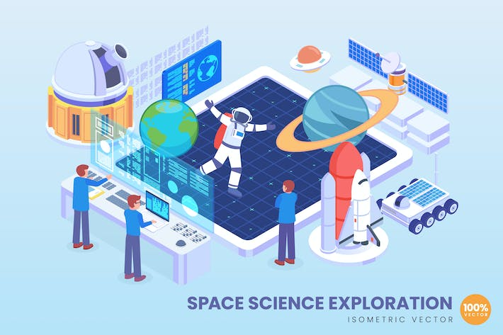 Thumbnail for Isometric Space Science Exploration Vector Concept