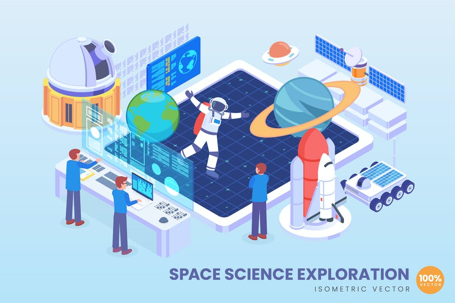 Isometric Space Science Exploration Vector Concept