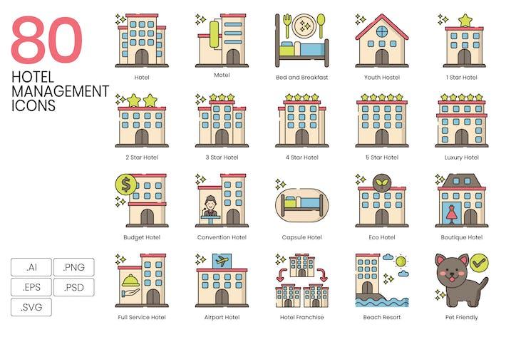 80 Icones de gestion d'hôtel - Hazel Series