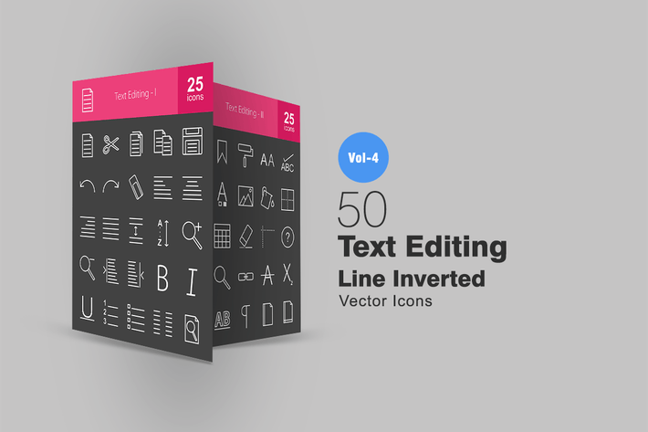 Thumbnail for 50 Text Editing Line Inverted Icons