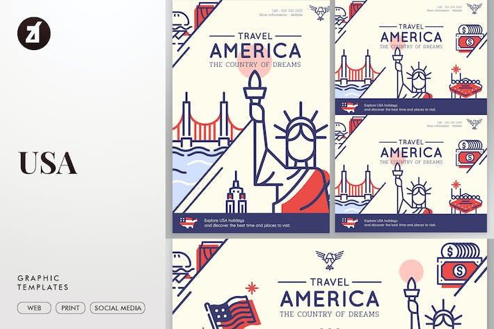Thumbnail for United States of America Graphic Templates