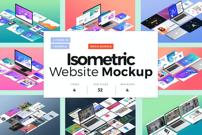 Thumbnail for Isometric Website Mockup Bundle