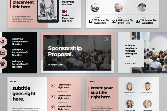 Sponsorship Proposal Presentation with Pink Accent