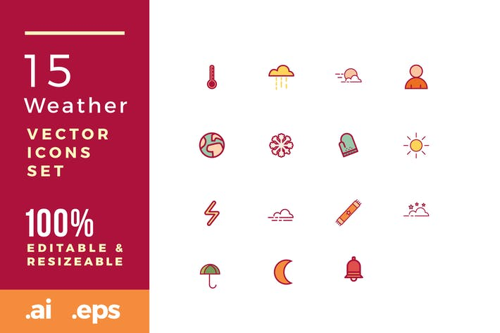 Thumbnail for 15 weather vector icons