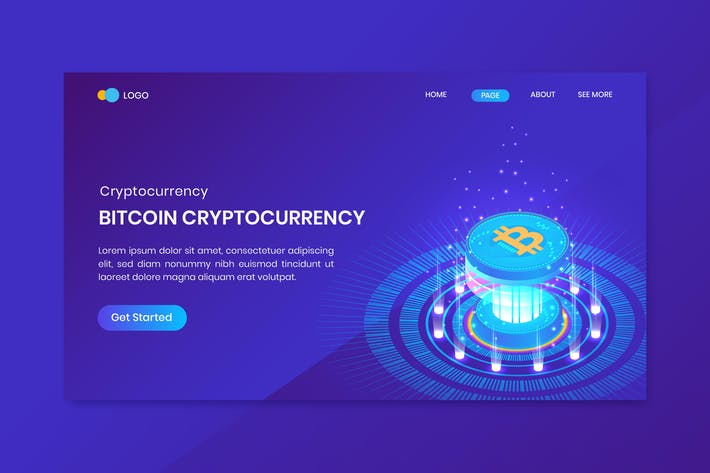 Thumbnail for Bitcoin Isometric Cryptocurrency Landing Page