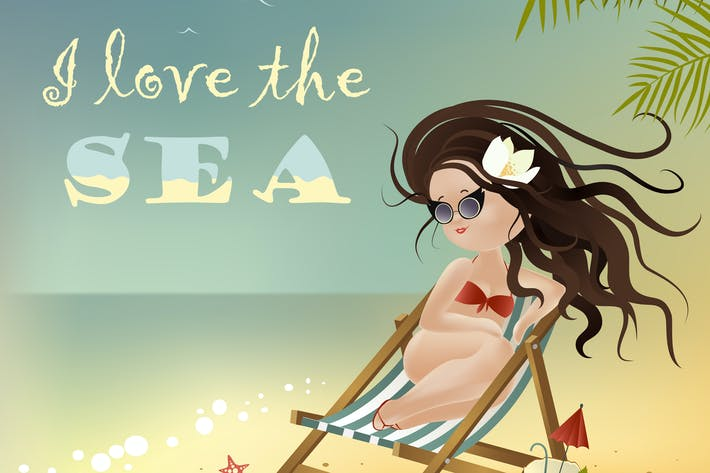 Thumbnail for Beautiful girl sitting in a deckchair. Vector