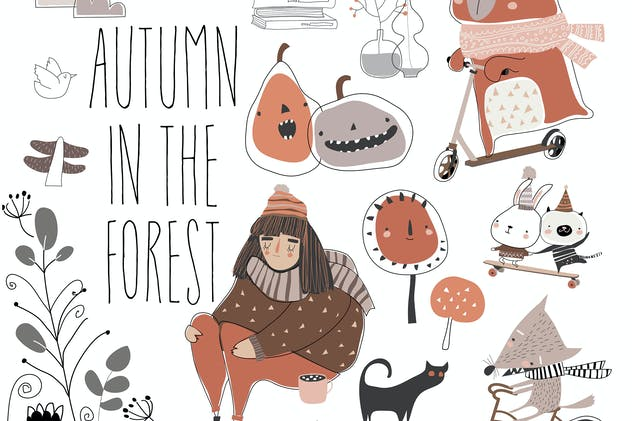 Set of cute animals with autumn elements. Hello