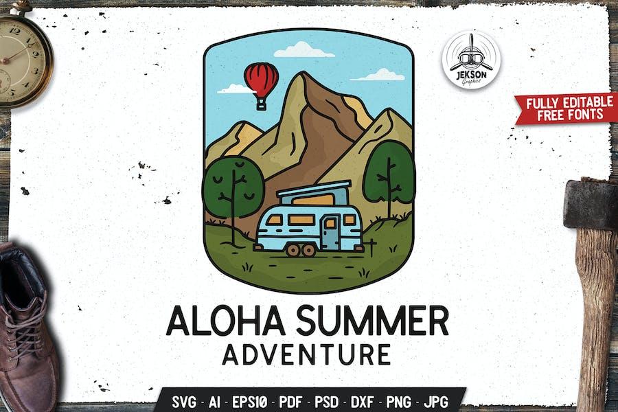 Aloha Summer Emblem Modern Logo SVG. Travel Badge