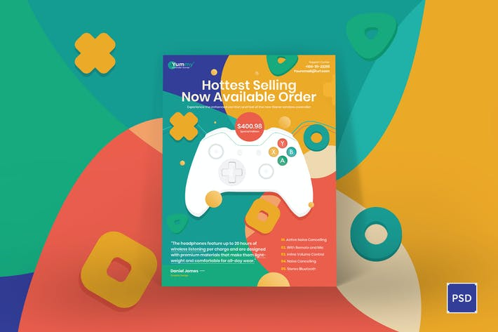 Thumbnail for Digital Game Controller Poster PSD Template
