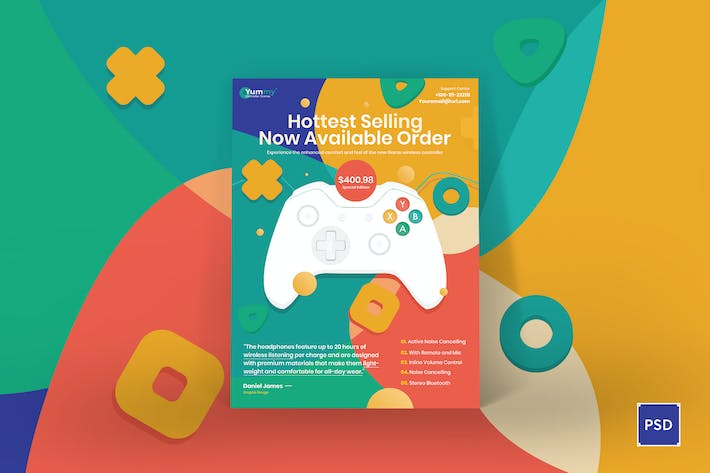 Digital Game Controller Poster PSD Template