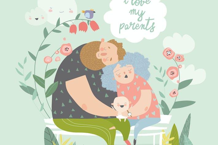 Thumbnail for Устали родители обнимают их радостный милый ребенок