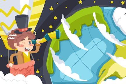 World Explore Kids Illustration