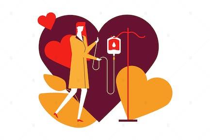 Blood donation - flat design style illustration