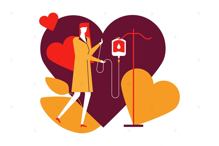 Thumbnail for Blood donation - flat design style illustration