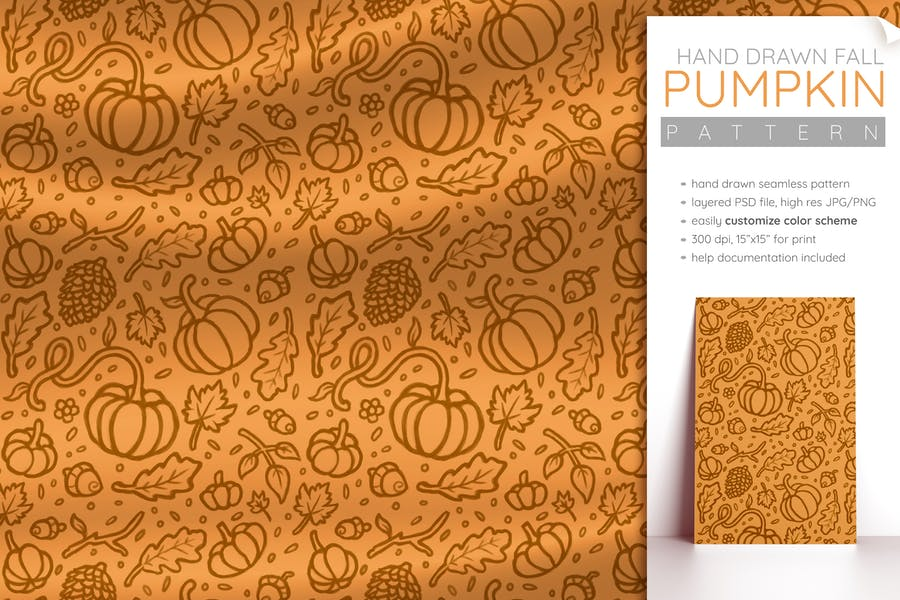 Fall Pattern (Pumpkin Pattern Halloween Seamless)