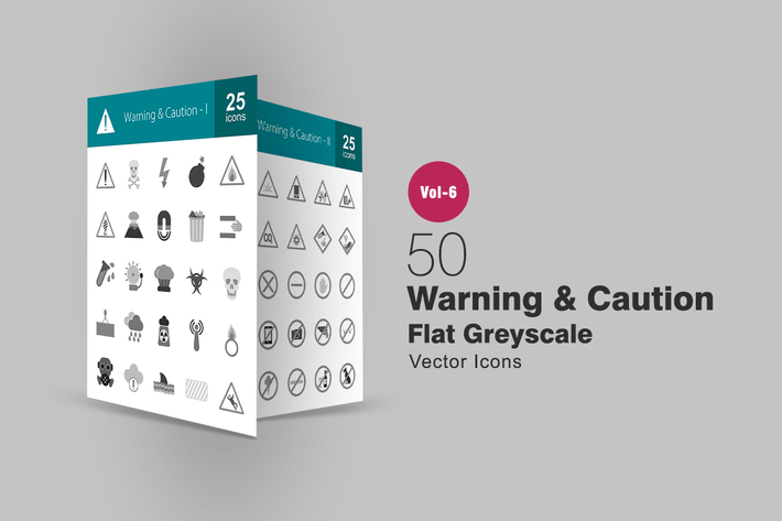 Cover Image For 50 Warning & Caution Flat Greyscale Icons