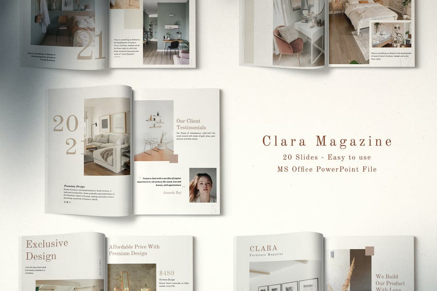 Clara Minimalist Magazine Layout Powerpoint