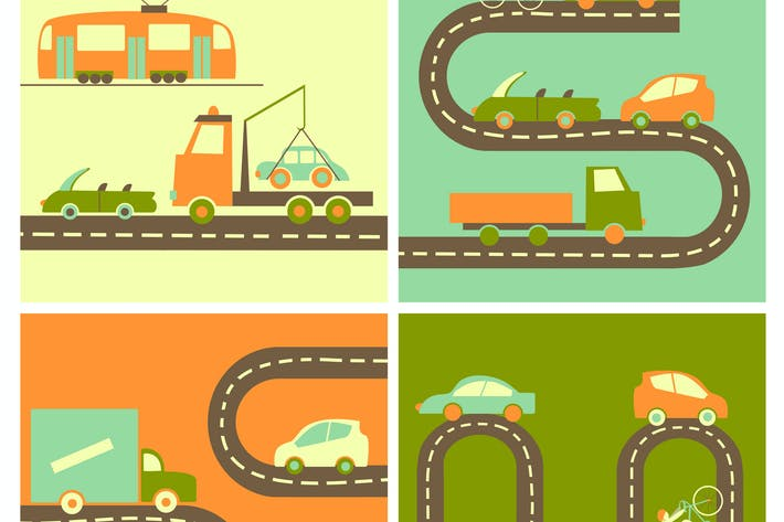 Thumbnail for Different cars on the highway in flat style.Vector