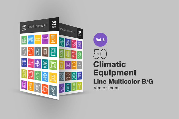 50 Climatic Equipment Line Multicolor B/G Icons