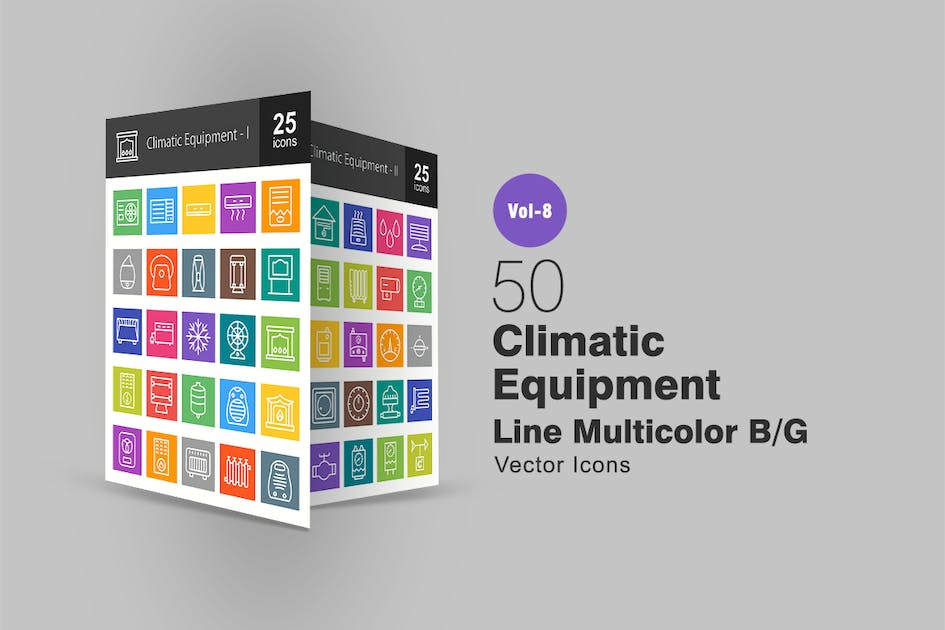 Download 50 Climatic Equipment Line Multicolor B/G Icons by IconBunny