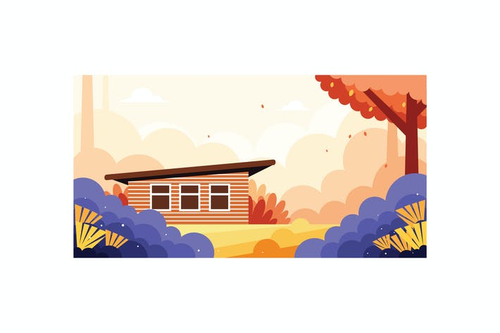 Thumbnail for Beautiful house in the wild illustration