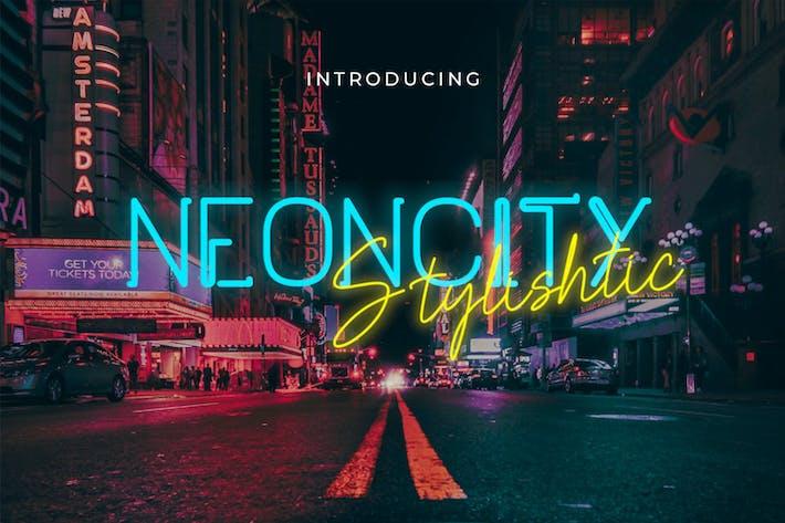 Thumbnail for Neoncity - Signature Neon Font