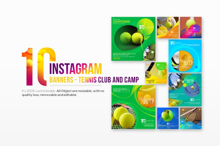 Thumbnail for 10 Instagram Post Banner-Tennis Club and Camp