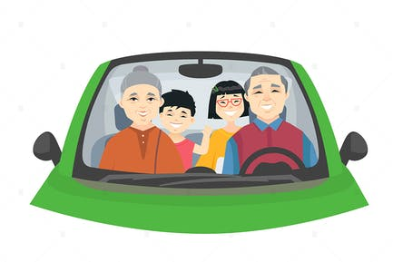 Chinese family on a trip - illustration