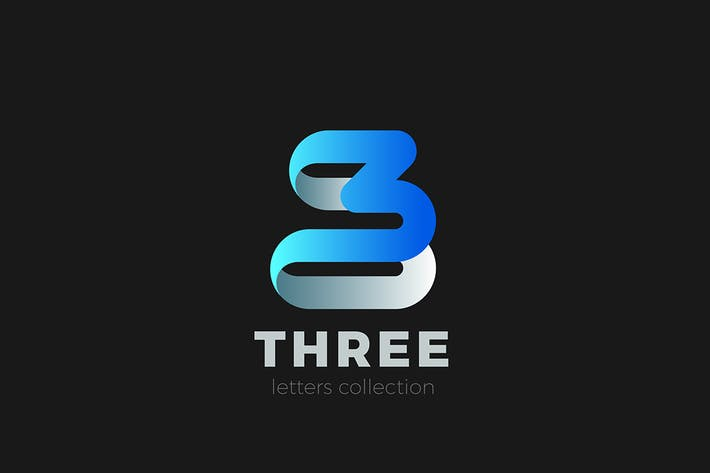 Thumbnail for Number 3 Three Logo design ribbon style