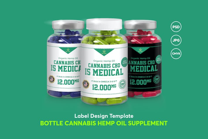 Thumbnail for Label Design Bottle Cannabis Hemp Oil Supplement