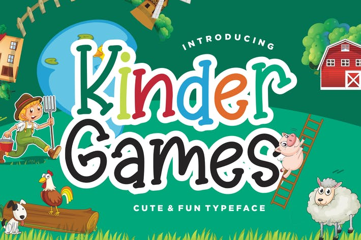 Thumbnail for Kinder Games Cute & Fun Typeface