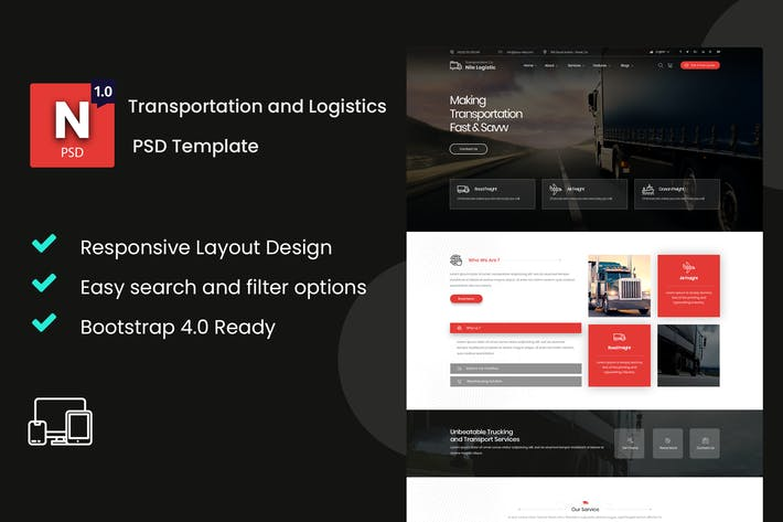 Thumbnail for Nile - Transportation and Logistics PSD Template