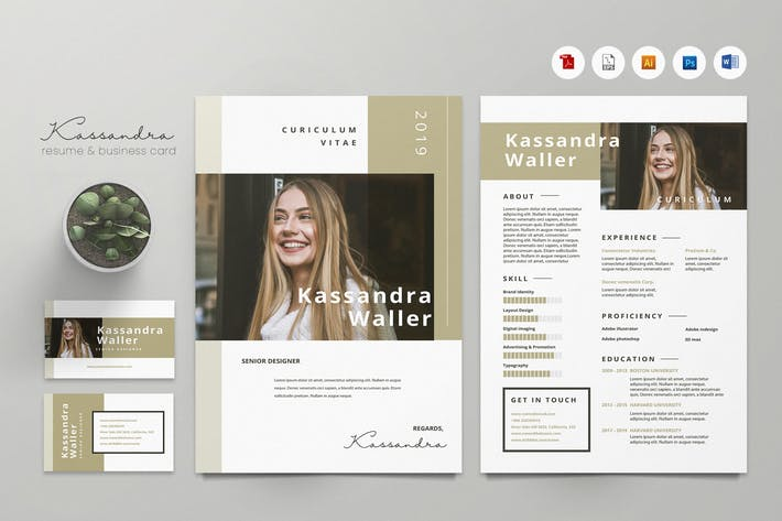 Creative CV Resume & Name Card PSD, DOCX, AI No.19
