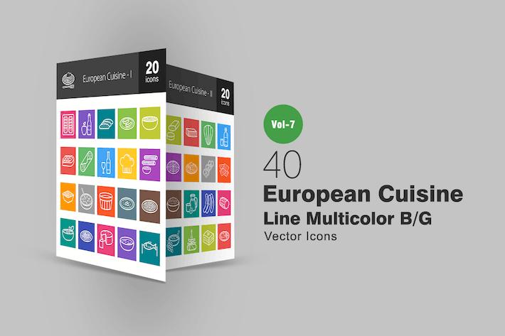 Thumbnail for 40 European Cuisine Line Multicolor B/G Icons