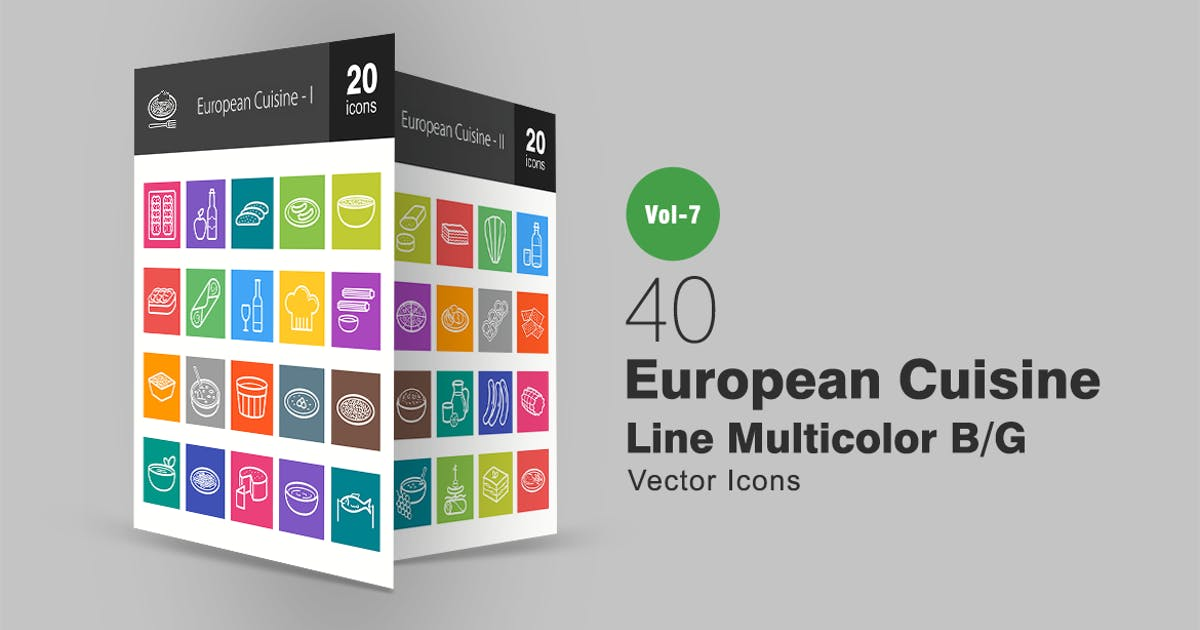 Download 40 European Cuisine Line Multicolor B/G Icons by IconBunny