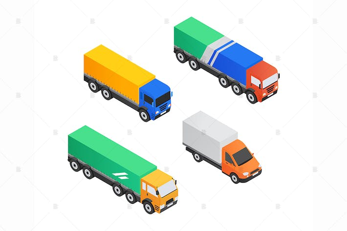 Thumbnail for Truck service - isometric colorful elements