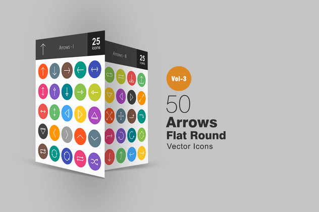 50 Arrows Flat Round Icons