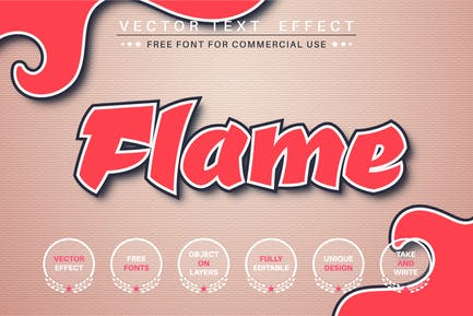 Flame graffiti - editable text effect, font style